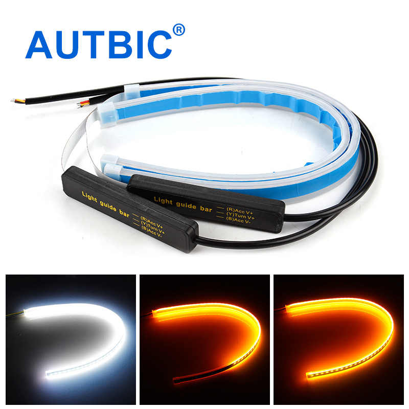 AUTBIC 12V Auto Lamps For Cars DRL LED Daytime Running Lights Turn Signal Guide Strip Headlight Assembly Car Styling Accessories