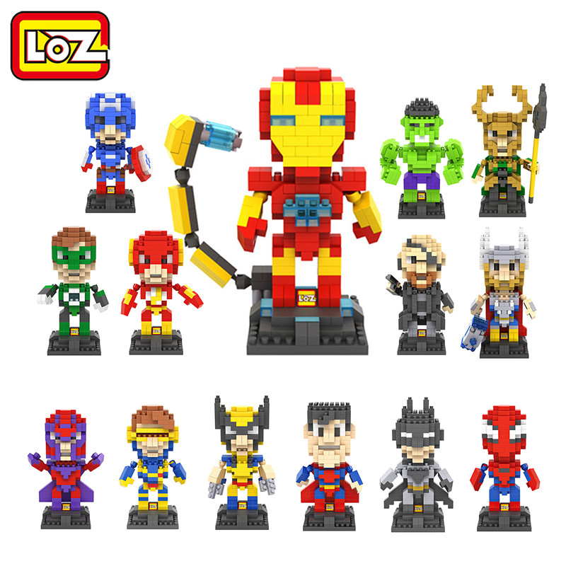 LOZ The Hero Deadpool Captain America Iron Man Thor Loki Diamond Building Blocks Action Figure Children DIY Toy victorian america and the civil war