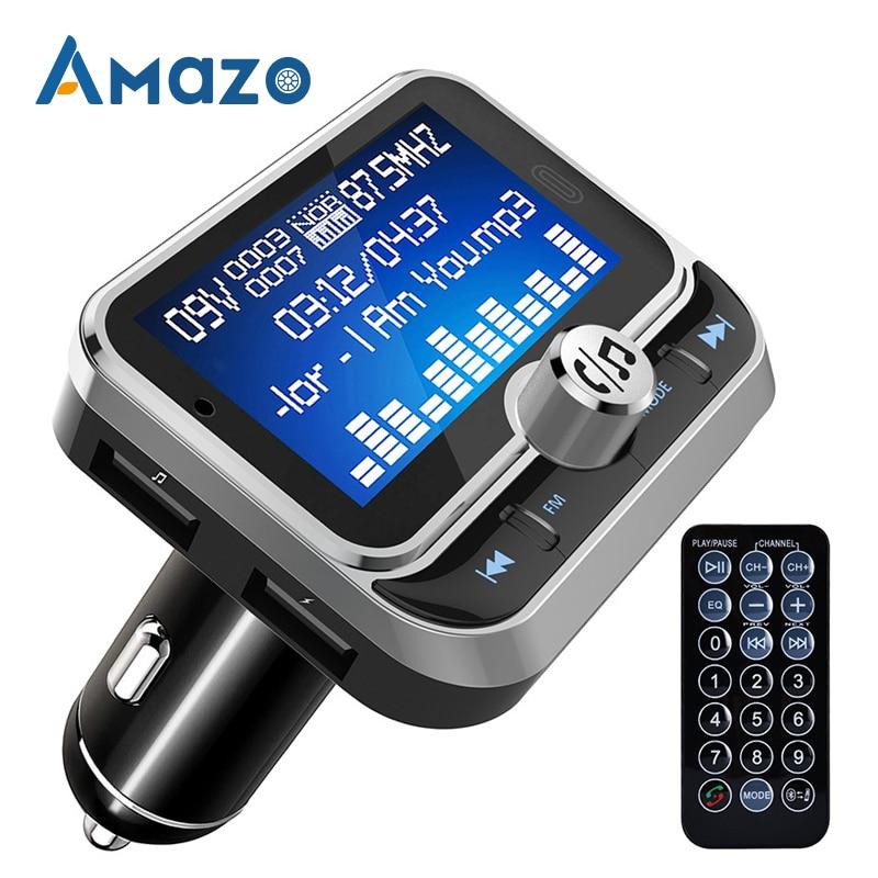 FM carro Leitor de Música Receptor de Áudio Bluetooth Transmissor MP3 QC 3.0 Carregador Dual USB U Leitor de Disco 1.8 Polegada Exibição handsfree
