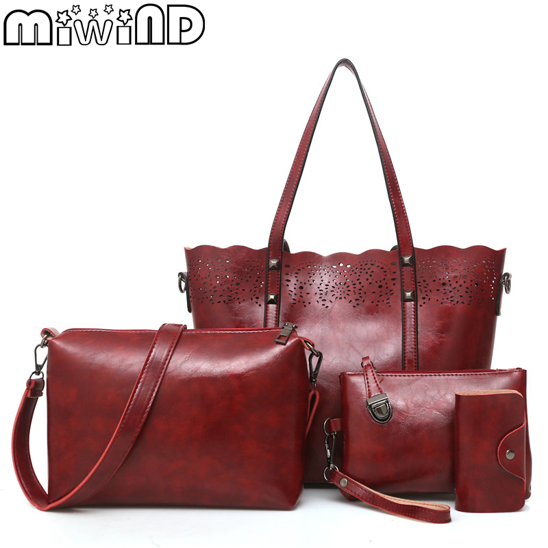 MIWIND New Women Handbags High Quality Vintage Oil Wax Leather Shoulder Bags Fashion Hollow Out Female Composite Bag 4-Piece Set miwind new fashion leather handbags high quality women shoulder bags buy one get another free full set 6 pieces more favorable