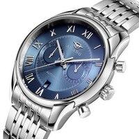 Ailang automático fecha dial azul reloj de los hombres reloj mecánico de acero inoxidable reloj resistente al agua fuerte de embarque