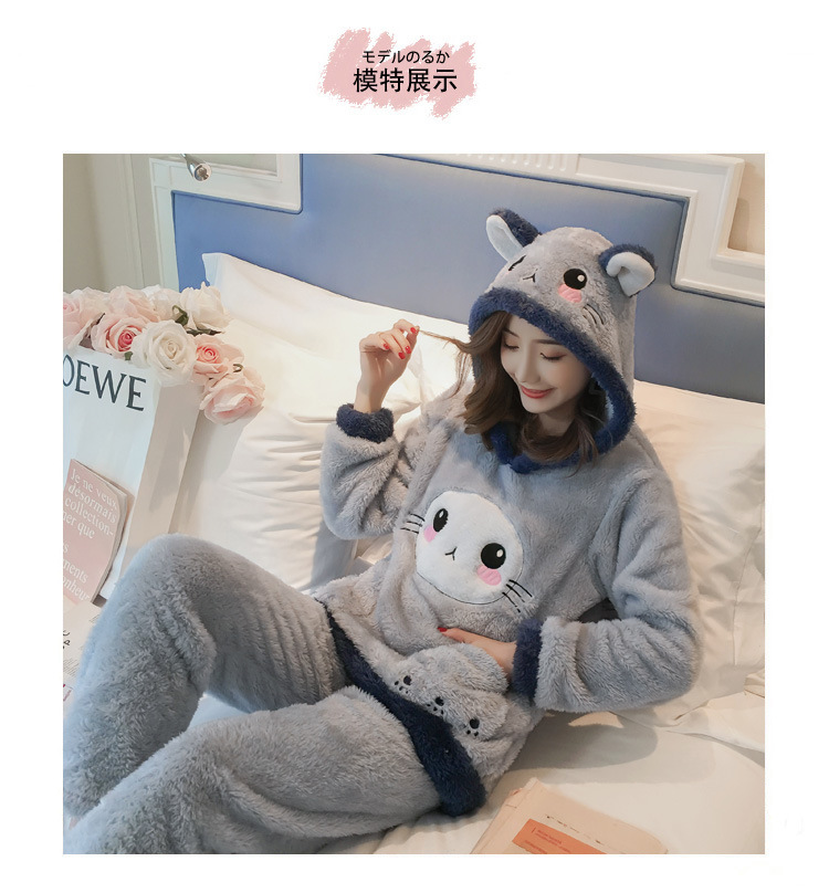 Winter Women Pajama Flannel Sleepwear Long Sleeves Hot Pajamas For Women Velvet Pajama Women Soft Clothing 80
