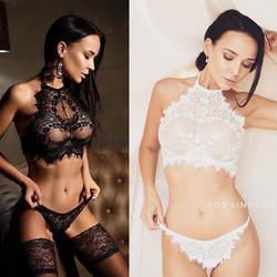 2018 Новый женский сексуальный комплект нижнего белья эротический прозрачный кружевной открытый бюстгальтер без косточек цветочный