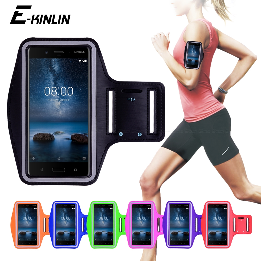Running Jogging Gym Sports holder Bag Cover Arm Band Phone Case For Nokia 1 2 3 5 6 7 Plus 9 PureView 8 Sirocco X5 X6 X7 2018 чехол на руку для телефона