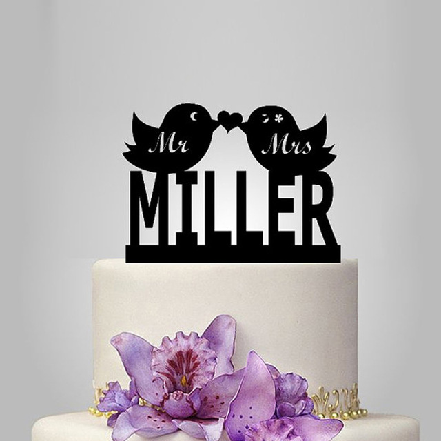 2017 Real Rushed Personalized Acrylic Love Bird Wedding Cake Topper ...