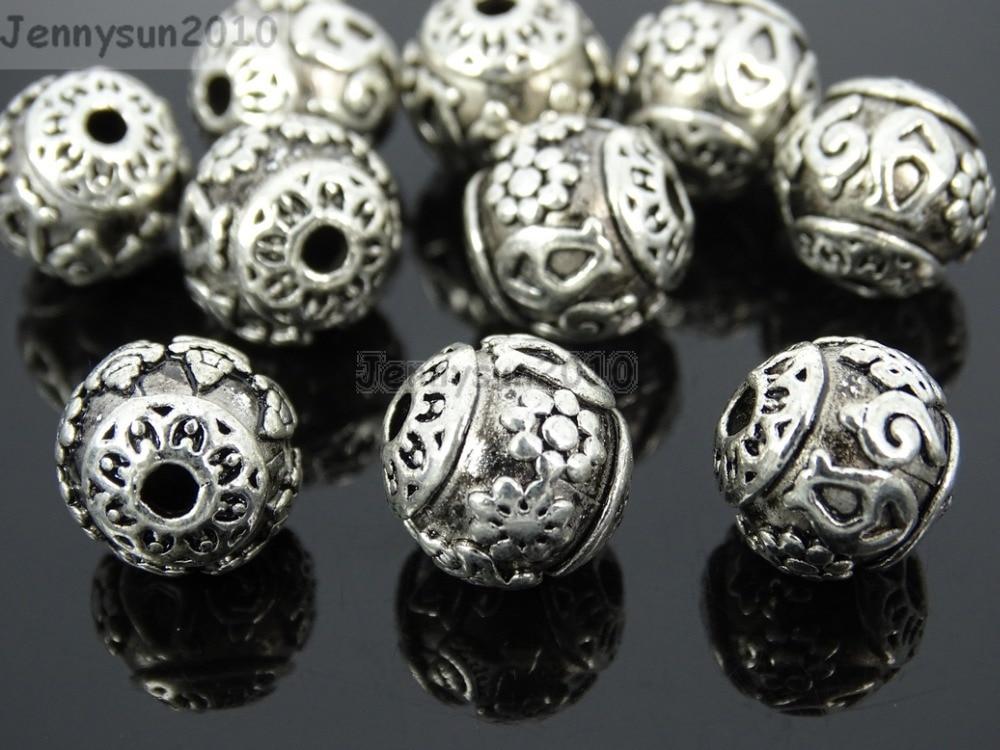Vintage Patterned Tibetan Silver Spacer Connector Charm Beads 3 Hole Tibet Guru