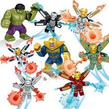 8pcs Marvel Avengers  Dc Super Heroes Iron Man Thanos Building Blocks Action Movie Figures Toys Compatile 4pcs lot dc marvel super heroes avengers captain movie anime action figures building blocks bricks enlighten toys for children