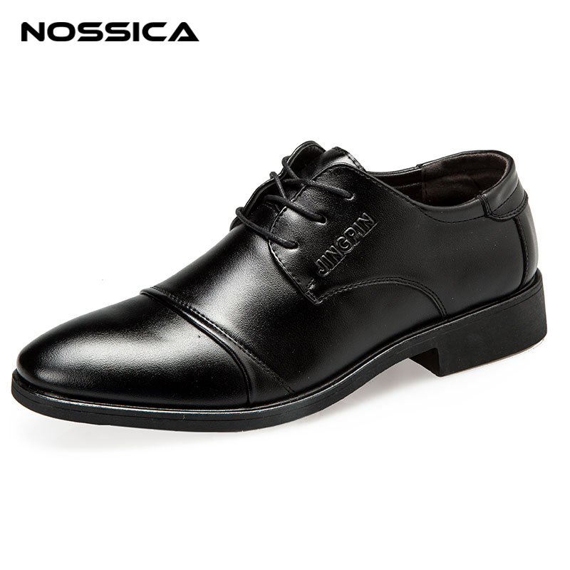 NOSSICA Men Formal Shoes Men Dress Shoes Brand Men Leather Shoes Men Classic Business Gentleman Plus Big Size Spring Autumm