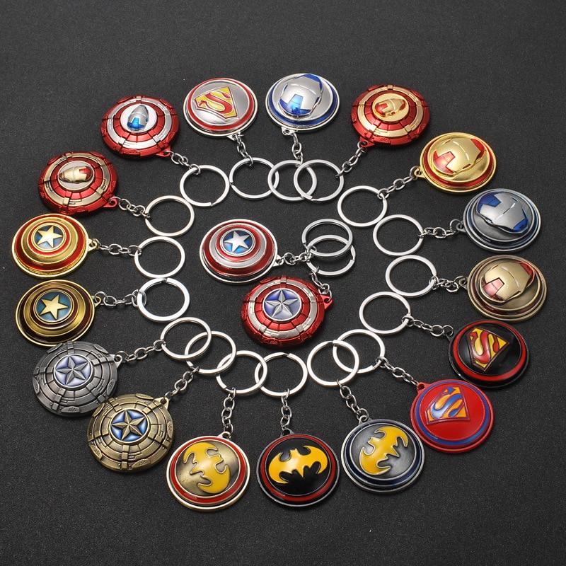 The Avengers Captain America Keychain Superhero Star Shield Pendant Keyring Car Key Chain Accessories Batman Marvel Key Chains