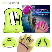OMOUBOI High Visible Green Swim Water Stroke Train Hand Fins Plastic Gloves With Water Float Buoyancy Life Vest For Child Unisex