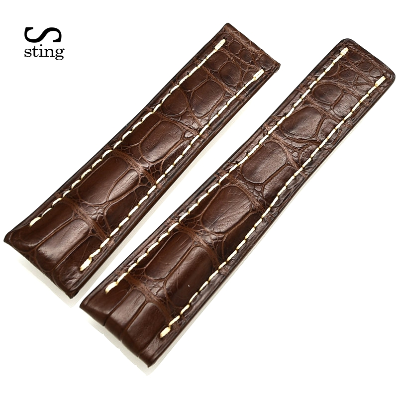 Custom Crocodile Leather Watchband For Breitling Watch 18 20 24mm Replacement Men Watch Strap b8 custom order italian leather watch strap 12 23mm blue watchband with free shipping