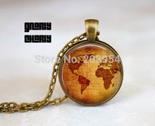 Steampunk handmade movie Vintage World Map Freakshow Necklace 1pcs/lot bronze or silver Glass Pendant jewelry