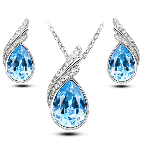 Austrian Crystal Jewelry Sets Jewellery Jewerly Silver Gold Color Bridal Wedding Jewelry Sets