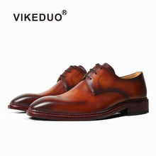 VIKEDUO Luxury Brand Derby Dress Shoes Patina Brown Handmade Leather Mens Wedding Office Business Formal Zapatos