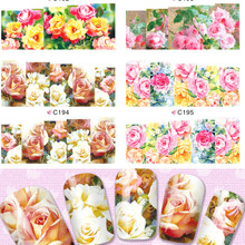 1sheets New Charm Real Rose Nail Art Flower Stickers Water Transfer Full Wraps Foils Decorations of Nail Decals Tools C192-195