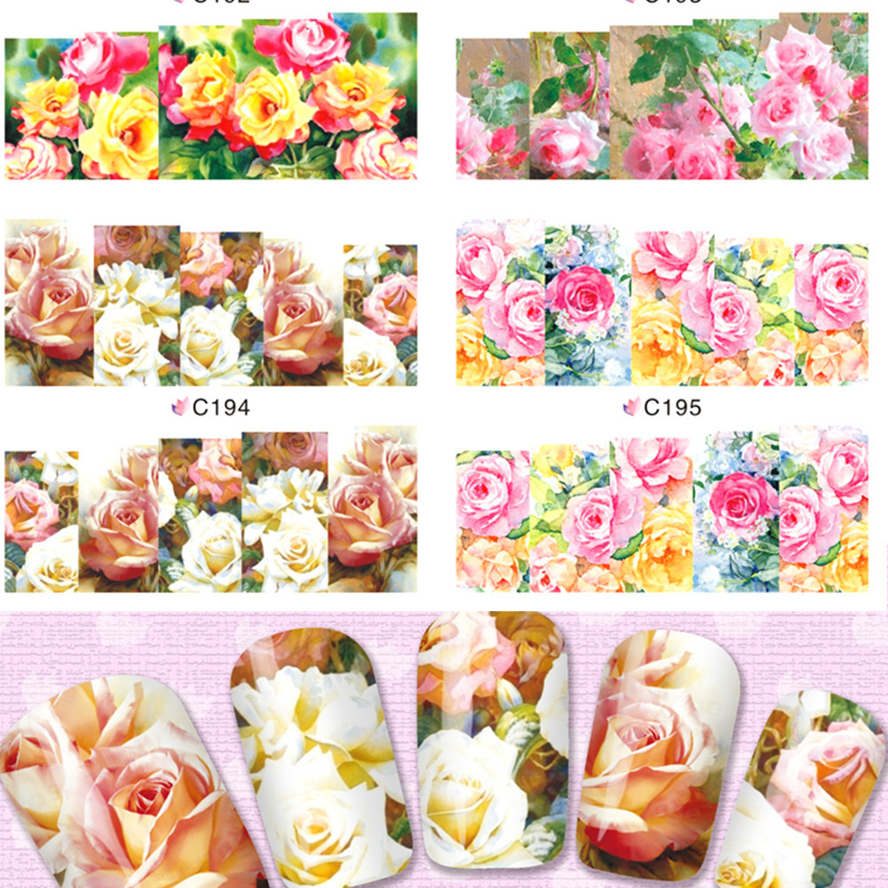 1sheets New Charm Real Rose Nail Art Flower Stickers Water Transfer