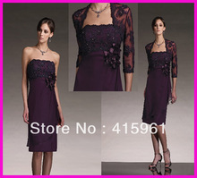 Plum Square Neck Short Chiffon Mother of Bride Dresses With Lace Jacket M386