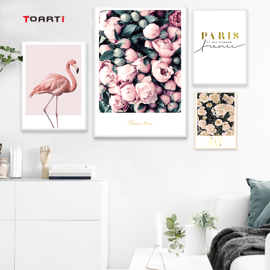 Modern Flowers Canvas Painting On The Wall Romantic Blooms Posters Prints Pink Flamingo Decorative Pictures For Living Room Home (4)