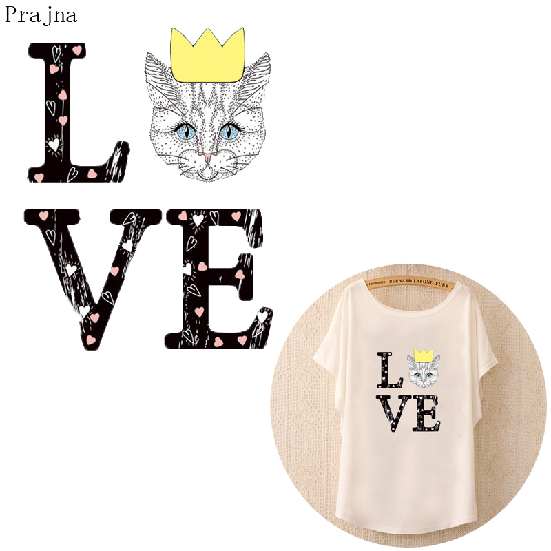 Prajna Love Cat Patch Iron On Transfer For Clothing T shirt Heat Transfer Vinyl Thermal Stickers Fabric Jeans Patch Applique DIY