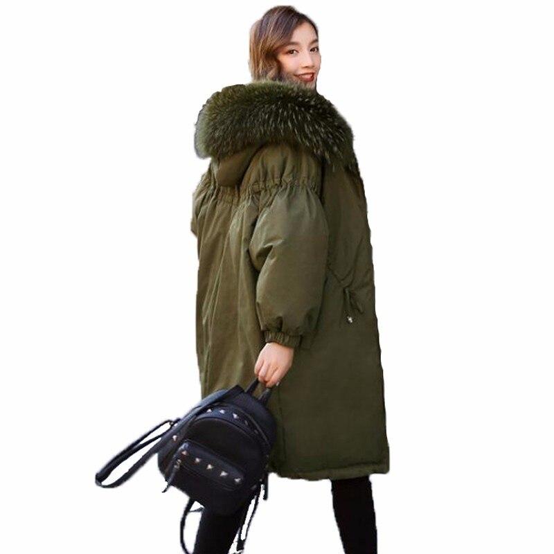 Bourgeon Manches Nouveau Grande Fourrure 2018 Femmes Parkas Raton Laveur Femme Green Vestes Mode Manteaux caramel Lâche Black De Épaissir Hiver army Outerwears 0Y5txwEx