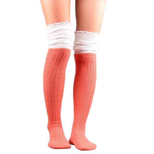 81e9cd40fda BONJEAN Long Lace Boot Socks Mesh Thigh High Leg Warmers Women Knit Boot  Cuffs Knee Warmer
