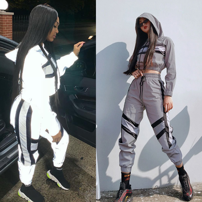 Women Fashion Streetwear Reflective Tracksuit 2 Piece Set Women Crop Top Summer Cool Hooded Top Cargo Pants Reflective