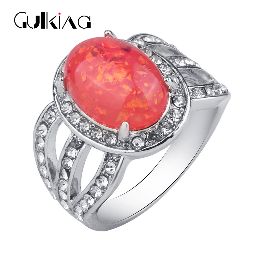 Gulkina Fashion Women Dream Color Stone Wedding Rings Classic Charm Party  Jewelry Anel Female Engagement Rings Sets