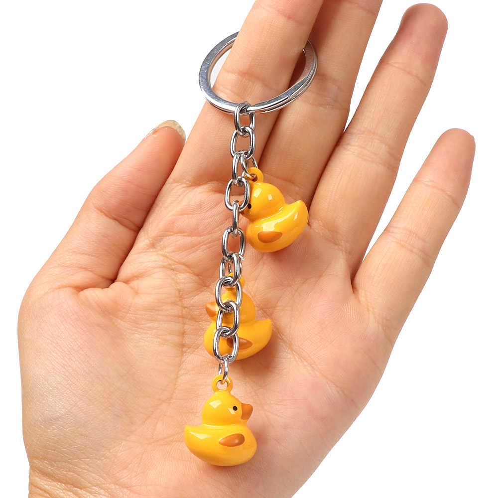1 Pcs การออกแบบการ์ตูนน่ารักเป็ดสีเหลือง Bell พวงกุญแจผู้หญิงกระเป๋าถือจี้ Keyring ของขวัญ