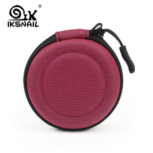 IKSNAIL Portable Case For Headphones Mini Zippered Round Storage Hard Bag Headset Box Earphone SD Cards Charging Cable