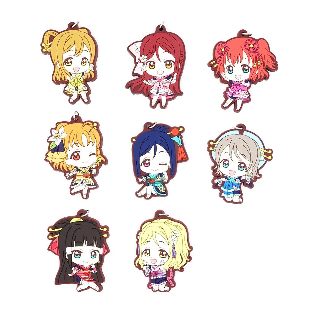 Love Live Sunshine Aqours Anime Chika Yoshiko You Ruby Dia Kanan Hanamaru Mari Riko Matsuri Japanese Rubber Keychain love live lovelive sunshine anime watanabe you ruby yoshiko riko kanan aqours japanese rubber keychain