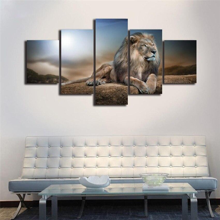 Rahmen 5 Panels Malerei Für Wohnzimmer Dekor Dekor Modulare Lion ...