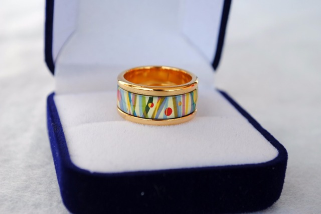 Cloisonne Enamel Jewelry Ring Round Ring Decorated With Thick Gold