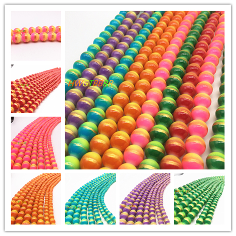 Wholesale 6/8/10/12mm Three-colour Glass Beads Loose Spacer Painted Pearl Charm DIY Jewellery Making