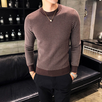 Autumn and winter new half high collar pullover vertical stripes sweater Slim style fashion personality trend male sweater youth
