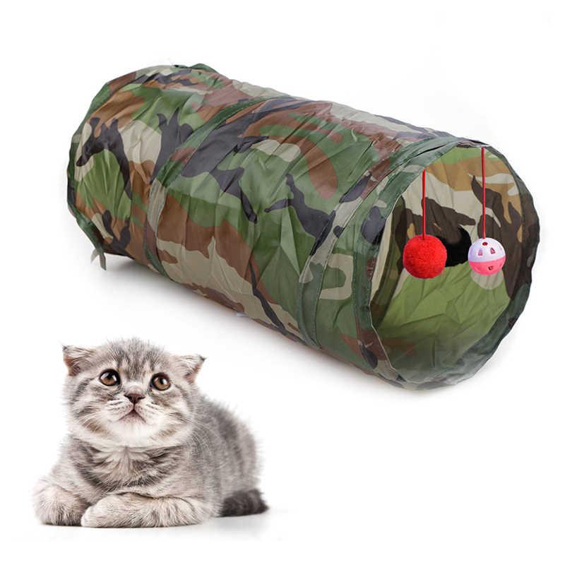고양이 터널 장난감 애완 동물 터널 및 튜브 볼 구멍 디자인 축소 가능한 2 구멍 종소리와 함께 놀이 재미 7 색 장난감 Crinkle
