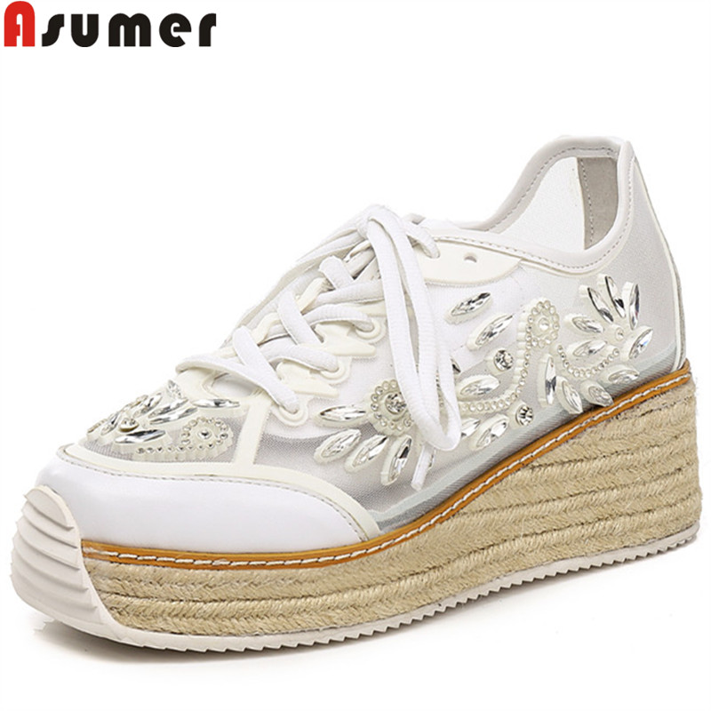 ASUMER 2018 fashion new shoes woman round toe lace up platform wedges shoes pumps women genuine leather high heels prom shoes bonjomarisa new arrivals 2016 solid plain round toe lace up sporting thick platform pumps women fashion cassual shoes women