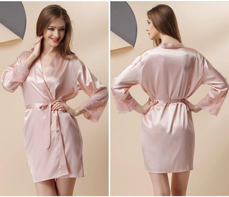 2015 Pink Striped Women Satin Robes Bathrobe Sexy Charming Kimono Black  Lace Temptation Lingerie Sleepwear Bridesmaid Robe-in Robes from Underwear  ... e6ce39640edf