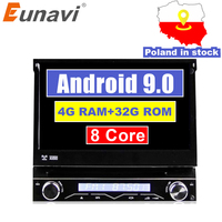 Eunavi 4G Оперативная память 1 Din Android 9,0 Octa 8 Core автомобильный DVD проигрыватель для универсальной gps навигации стерео радио WI FI MP3 аудио USB SWC