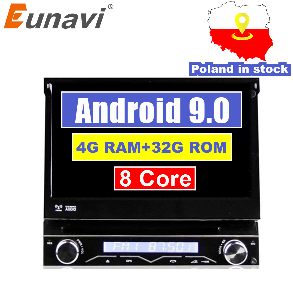 Eunavi 4g ram 1 din android 9.0 octa 8 núcleo leitor de dvd do carro para navegação gps universal rádio estéreo wi fi mp3 áudio usb swc