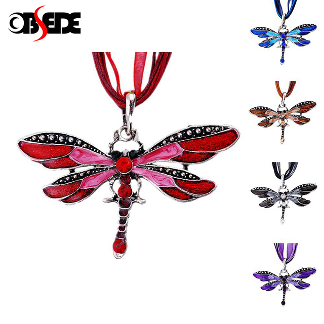 OBSEDE New Fashion Dragonfly Sweater Necklace Vintage Collar Statement Necklace For Women Accessory Fine Jewelry Gift Colorful