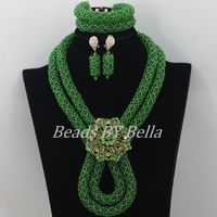 Hot New Green Crystal Beads Necklace African Wedding Jewelry Set Nigerian Beads Bridal Lace Jewelry Sets Free Shipping ABF512