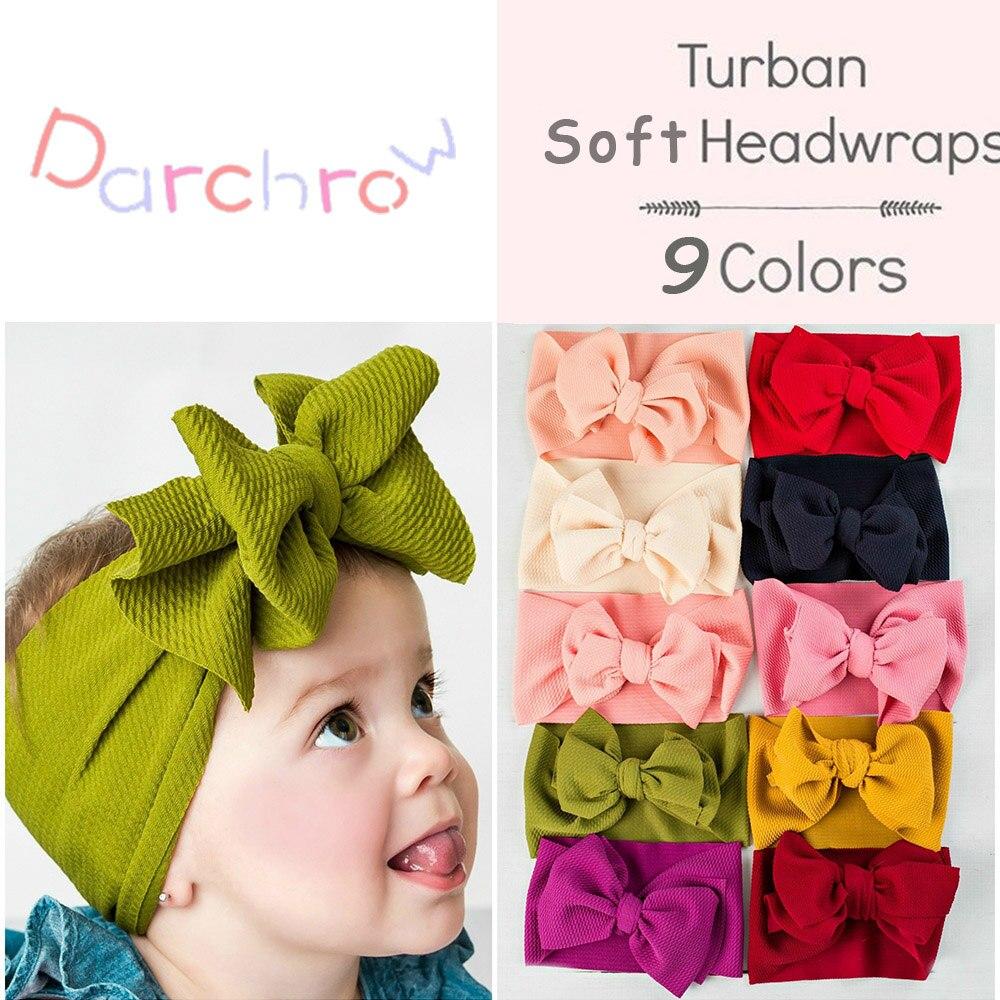 2019 New Baby Big Bow Headband Large Top Knot Turban Hairband Baby Girl Head Wrap Ears Warmer   Headwear   Children Hair Accessories