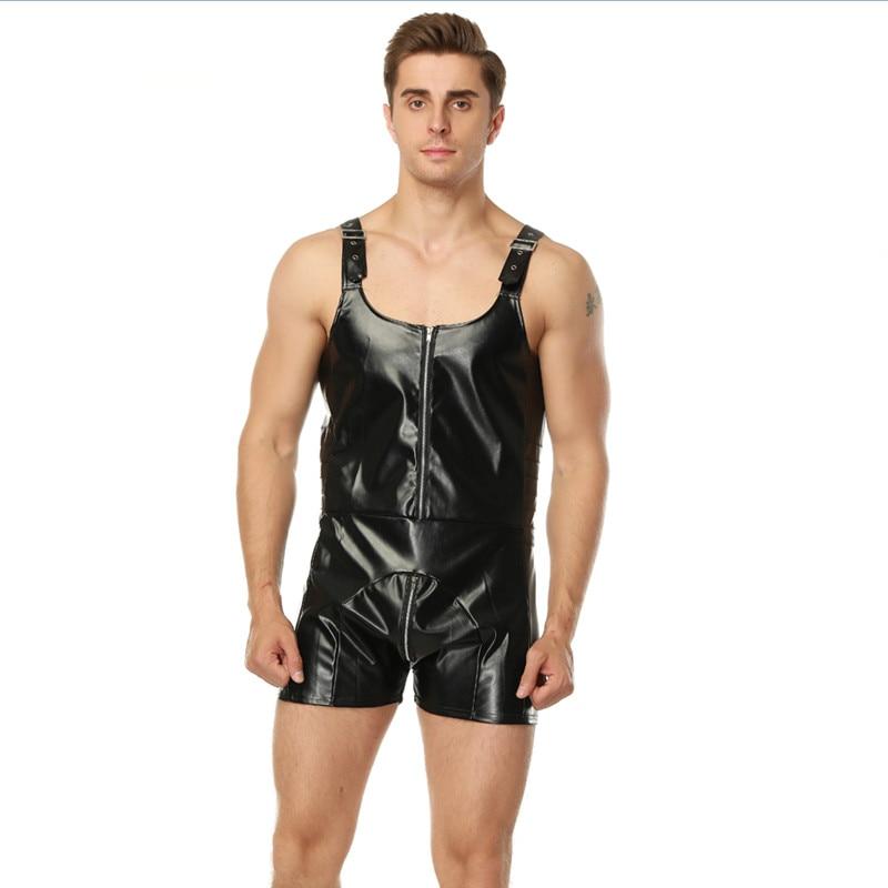 Hot Sale Catsuit Leather Lingerie Men Sexy Bodysuit Faux Latex Male Erotic Jumpsuit Zipper Teddies Plus Size Gays Body Stocking