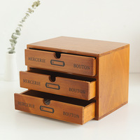 Retro Wooden Storage Box Home Office Desktop 4 layer Drawer Ornaments Multi function Storage Cabinet Home Decoration Crafts Gift