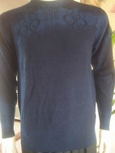 School holidays Men's Sweaters Crewnecks 100%Wool Navy Blue Printed sample  Reduce the low cost 10% postage