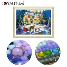 Pintura de diamantes de Forma especial 5d, bordado de diamantes en 3d, mosaico de piedras de cristal con cuentas, kits de punto de cruz, paisaje de Navidad 70*50cm