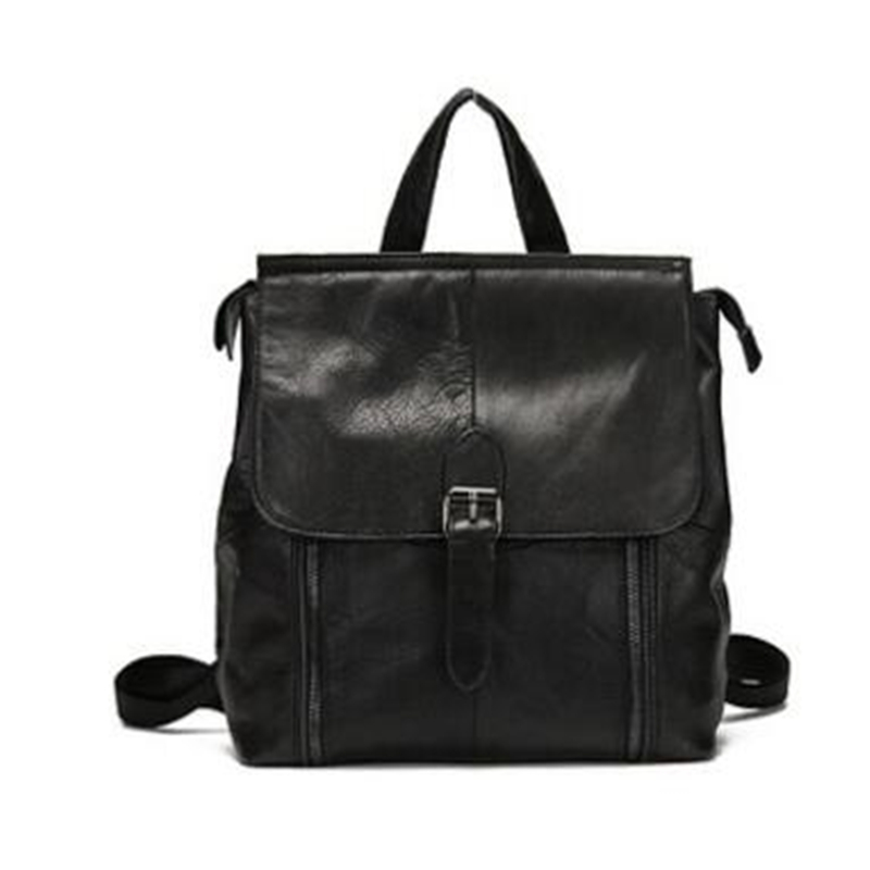 2017 New Han Style Genuine Women Bags Tide First Layer Cow Leather Black Casual Travel Backpack Punk Women Double Shoulder Bags 2017 new style genuine leather women bags punk women double shoulder bags black cow leather casual travel backpack