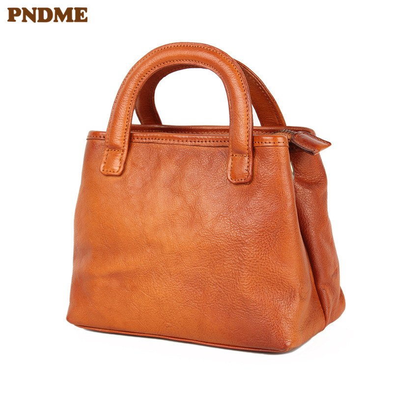 PNDME retro genuine leather ladies handbag casual simple soft first layer cowhide brown women 39 s shoulder messenger bags tote bag in Top Handle Bags from Luggage amp Bags