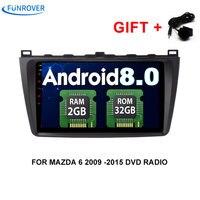 Funrover 9 Inch Dvd Car Player For MAZDA 6 2008 2015 Mazda6 Quard Core Android 8