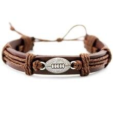 Football Soccer Baseball Softball Volleyball Lacrosse Field Ice Hockey Player Charm Leather Bracelets Women Men Unisex Jewelry